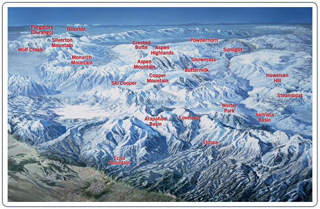 Colorado ski mountain map