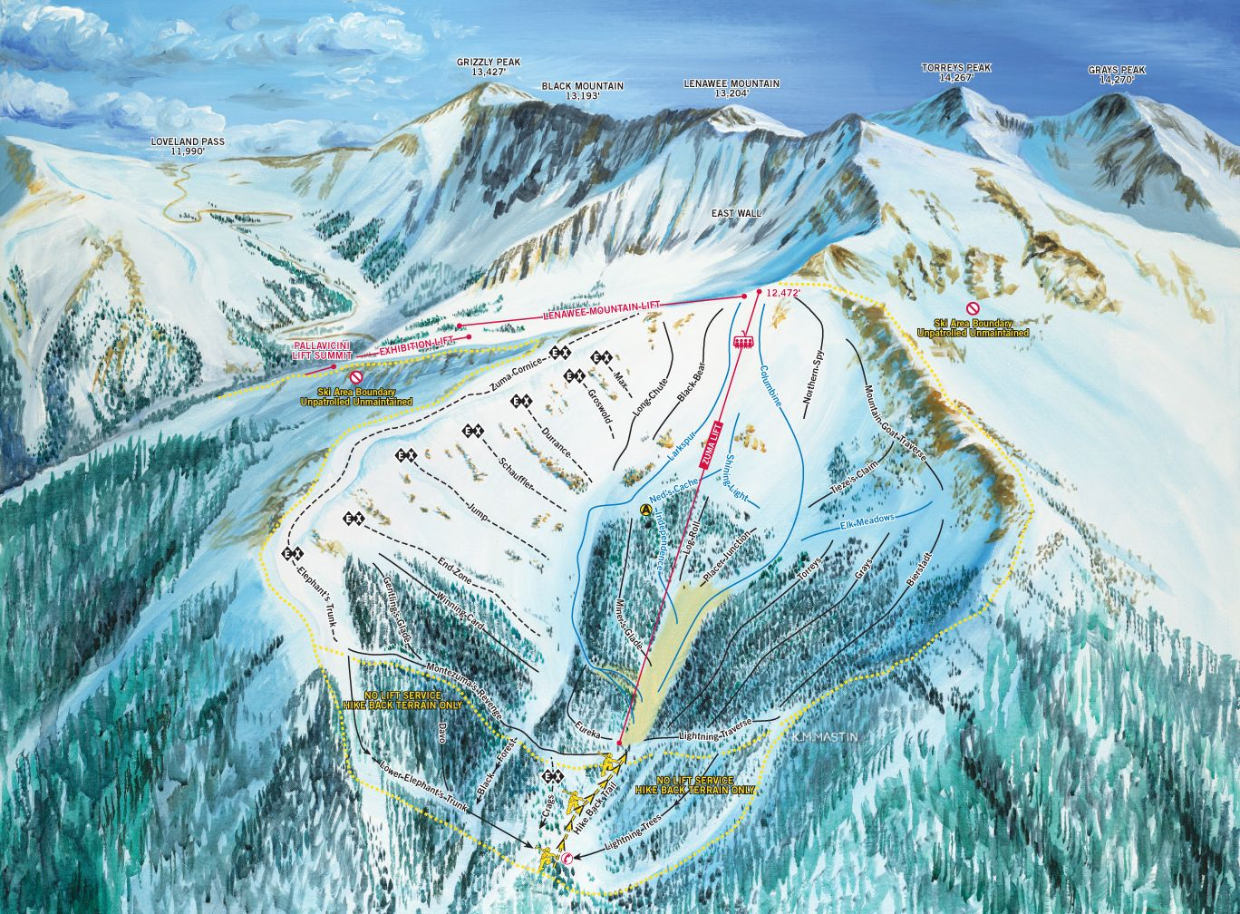 arapahoe basin area trail map back-side