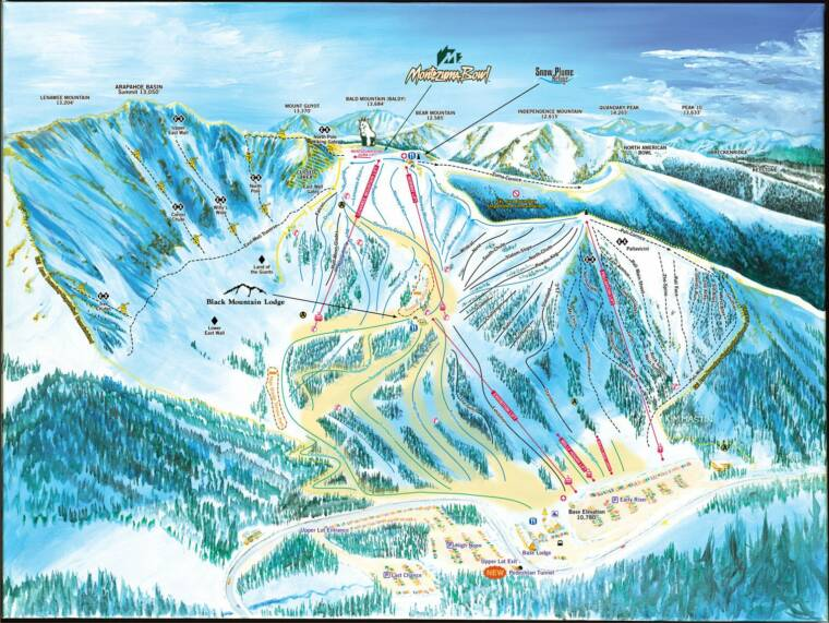 arapahoe basin area trail map front-side
