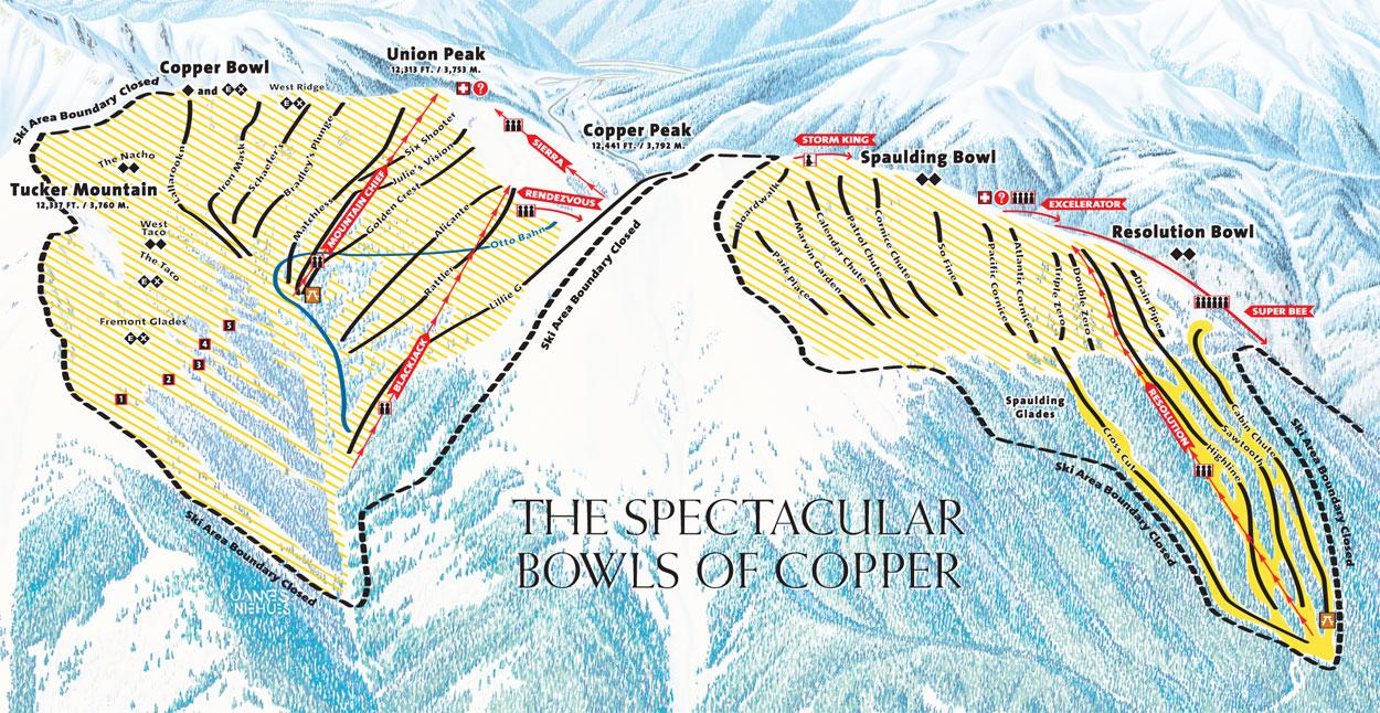 skiing  snowboarding copper mountain  colorado ski travel guide - copper mountain trail map