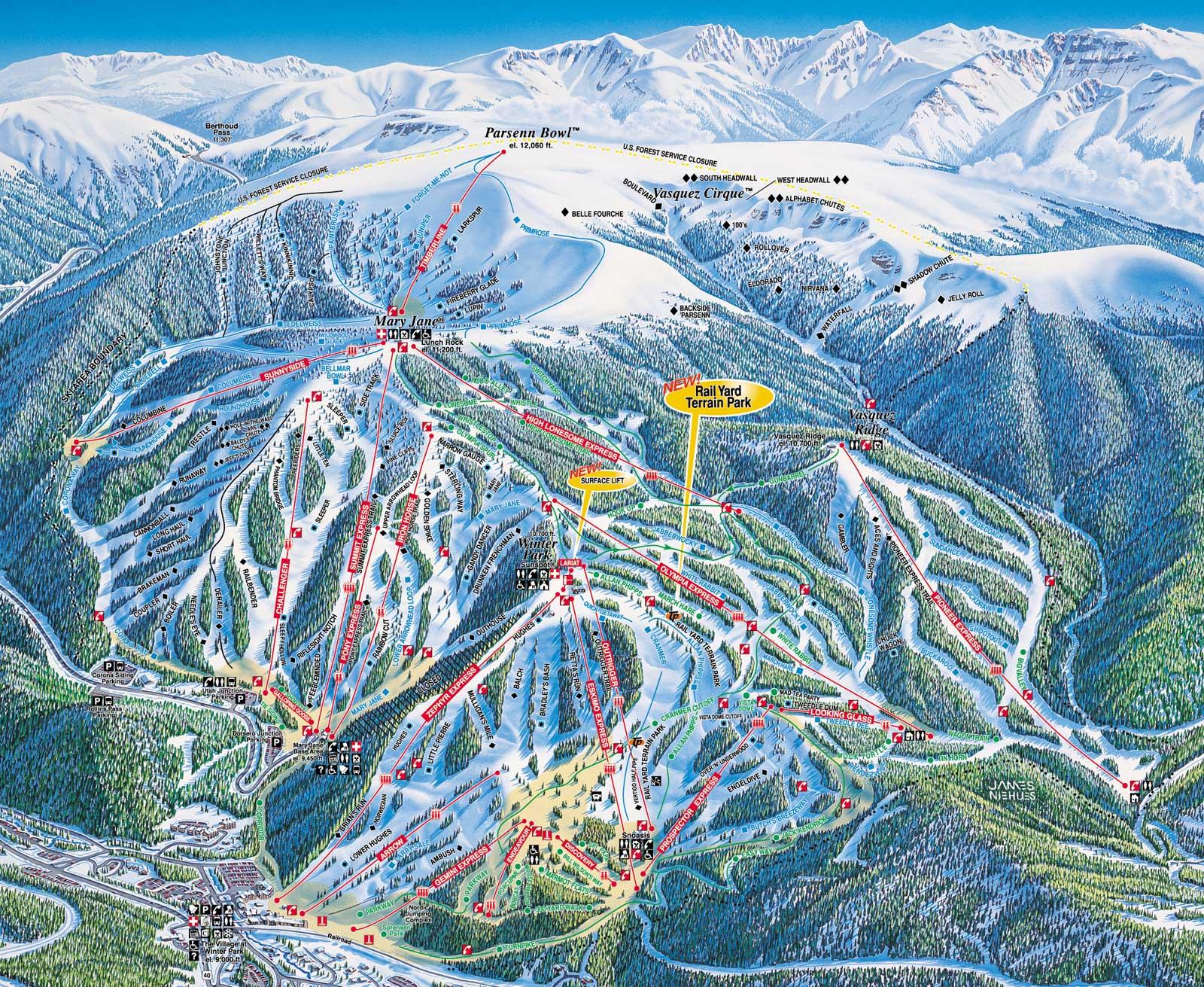 skiing & snowboarding winter park & mary jane resort - colorado ski